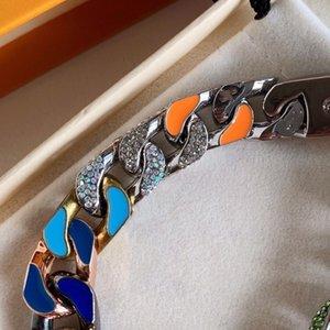 Men's Chain Bracelet Unfading Titanium Steel Crystal Hand catenary Luxury Brand Bracelets 20cm