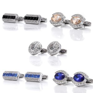 Cuff Link And Tie Clip Sets Men's Sliver High-Quality French Shirt Rectangle Blue Crystal Cufflinks Business Wedding Luxury Jewelry Fashion