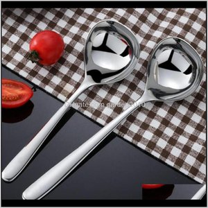 1 Pc Stainless Steel Round Soup Long Handle Honey Teaspoon Stirring Spoon Serving Spoons Tableware Kitchen Utensil Kyzkb Agqd4