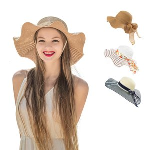 Designer Straw Sun Hats For Women Wide Brimmed Beach Visors With Bowknot Ladies UV Cap Woman Bucket Hat White Khaki Colors