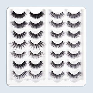 Wholesale Natural 3D Mink False Eyelash 14 Pairs Handmade Multilayer Eyelashes Extension Fluffy Wispy Fake Eye Lashes Makeup Tool