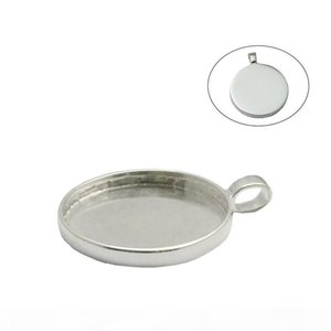 Beadsnice 925 Sterling Silver Bezel Tray Pendant Bezel Cups for 25 mm Round Cabochons Round Pendant Mounting Silver Blank Pendant ID 33659