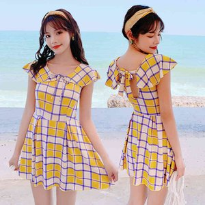 Women's Swimwear 20 Plaid Fashion One Piece High Waist Flat Angle Skirt Style Meat Covered and Slim Swimsuit 028158