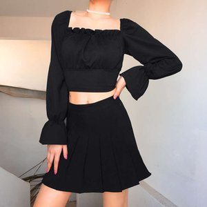 T-shirt Casual Dresses Long autumn   winter palace style bubble sleeve open back bandage sexy ins top woman