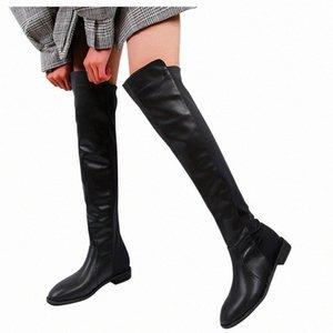 Sagace Taille 35 40 hiver sur les bottes du genou femmes Patch Cuir troupeau Femme Femme Cuisse haute Sexy Chaussures plates Bota Feminina 1128 S2N5 #