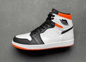 2021 أصيلة 1 electro أورانج 1 ثانية أحذية في الهواء الطلق الأبيض الحقيقي جلد رياضي رياضي 555088-180 مع المربع الأصلي