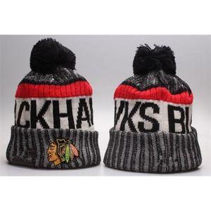 NOUVEAUX Bonnets Blackhawks Hot Knit Hockey Heanie Pom Knit Hats Baseball Football Football Sports Sports Bonnets Mix Match Commandez toutes les casquettes