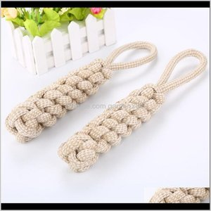 Chews Pet Supplies Home Garden Drop Delivery 2021 Cotton 31Cm Small Knot Ball Rope Toys For Large Dog Accesories Dumbbells Pets Chew Toy Bl7T
