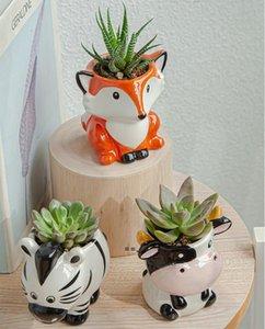 6PCS Set New Cartoon Animals Flower Pot for Succulents Fleshy Plants Flowerpot Ceramic Small Mini Home Garden Office Decoration NHE9852