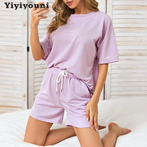 Summer Womens tracksuits Short Sleeve T-Shirts And Shorts 2 Pieces Sets Women Loose High Waist Set Female Casual Cotton Outfits