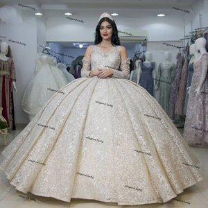Pincess Ivory Wedding Dresses Full Lace Long Sleeves puffy skirt arabic Bridal Gowns Court Train Dubai vestido de fiesta de boda france