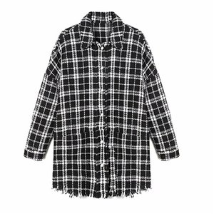 Evzer Женщины осень моды Pliad za Tweed черные длинные куртки негабаритные дамы повседневные одиночные грубые теплые зимние вагоны пальто 210421