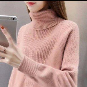 Корейский модный модные свитера женские свободные дна осень осень зима сплошные водолазки пуловер топы вязаный свитер
