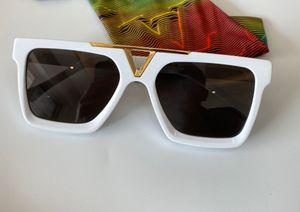 스퀘어 화이트 선글라스 골드 그레이 렌즈 남자 태양 안경 Occhiali da 솔 Firmati UV400 안경 상자