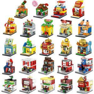 Urban Children's Mini Street View City Building Blocks DIY Assembly 3D Building Model Shop Store Children's Gifts Christmas Toys