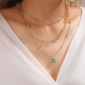 HuaTang Boho Blue Crystal Pendant Necklace For Women Multilayer Gold Bead Cuban Clavicle Chain Choker Ladies Party Jewelry Gift Necklaces