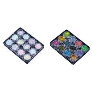 Nail Glitter 2Pcs Powder Pigment Set Fluorescence Spangle Makeup Shimmer Shining Chrome Dust Decoration, 2 & 1