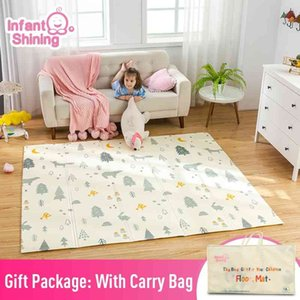 Infant Shining 200cm*180cm*1cm Baby Play Mat Folding XPE Crawling Pad Home Outdoor Folding Waterproof Puzzle Game Playmat 210401