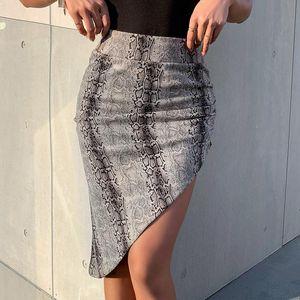 Skirts Women's Shorts High Waist Split Skirt Fashion Sexy Knitting Gradient Snake Print Irregular Hip Bag
