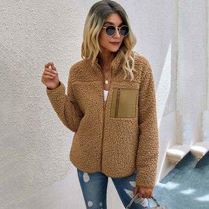 2021 Autunno Faux Pelliccia Femminile Peluche Peluche Giacca Teddy Ladies Manica lunga Chiusura con cerniera calda inverno cappotto donna