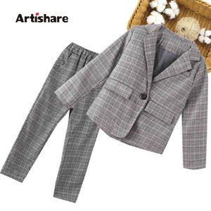 Girls Suit Set Plaid Pattern Suit For Girls Jacket + Pants Children Clothes Girl Spring Autumn Childrens Clothing 6 8 10 12 1 X0401