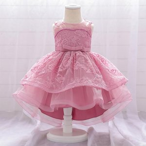 Платья девушки 0-24 м Родившиеся бисером крещение одежды крещении платье для девочки свадебный блесток подарок день рождения принцесса