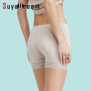 silk women safety short pants Natural silk seamless boxer Healthy shorty femme dentelle white black pink nude underwear 210603