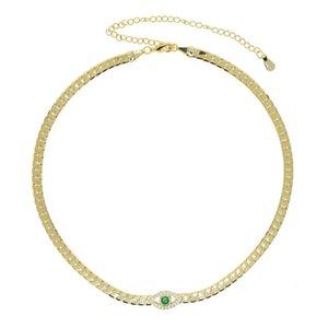 Wholesale 4 мм простые елочные сеть змеи Микро Pave CZ Зеленый злой глаз очарование Choker Ожерелье Ювелирные изделия для женских цепей