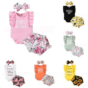 kids Clothing Sets girls sunflower outfits infant Bow Headband+ruffle sleeves Tops+Floral Flowers print shorts 3pcs set summer fashion baby Clothes