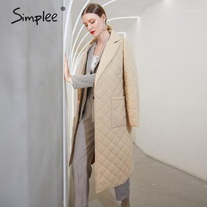 Simplee Fashion female winter windproof jacket Casual sashes women winter parka Long straight coat with rhombus pattern 20201