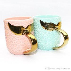 Завтрак молочные чашки с золотой серебряной ручкой путешествия кружки русалка хвост керамический тумблер творческий керамический чашка чашка чашка кофе кружка BC BH1098