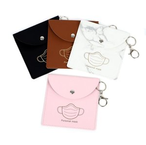 Faccia maschera maschera di archiviazione Portachiavi Portatile PU Protective Mask Cover Portachiavi Portachiavi Caso Fashion Key Cains Borsa Pendenti Accessori