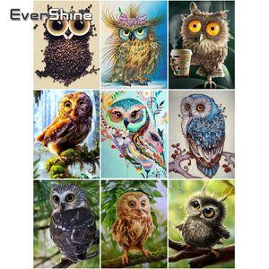 EverShine Diamond Painting Owl Full Square Cross Stitch 5D Diamond Embroidery Sale Animals Bead Picture Kits Art Home Decor