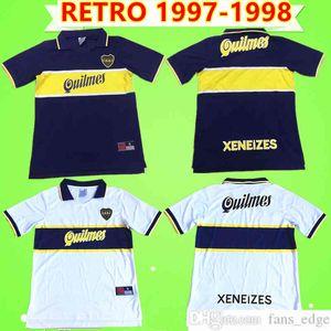 1997 1998 Boca Juniors rétro 97 98 Jerseys de football Maradona Classic Vintage Shirt Top Uniformes Accueil Blue Jaune