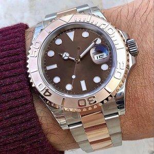 Новые мужские модернизированные яхты Master Seike Watch Brown Dial Rose Gold Ceramic Bezel двухцветный инкрустация из нержавеющей стали оригинальный сплошной браслет автоматическое движение часы