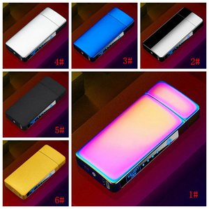 Electric Metal Lighters Windproof Dual Arc Rechargeable USB Touch Control Smoking Cigarette Lighter For Men Accessories DBC BH4716