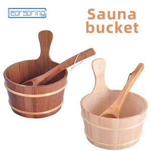 Banheiro natural 4L 6L colher de madeira da balde com a pele portátil alinhada da pele da pele da pele acessórios da associação