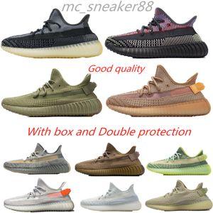 With box kanye 2021 v2 run shoes ash stone black blue men women zebra desert sage Sneakers pearl natural sand taupe reflective runner shoe sport