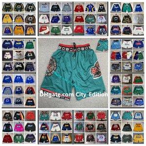 Memphis dos homensGrizzlies.Basquete apenas don shorts hip-hop esporte desgaste zipper calça com bolso autêntico costurado calçados clássicos kd0405