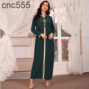 Hooded Kaftan Dress for Women Fashion Ethnic Hand Stitch Diamond Ribbon Trim Moroccan Dubai Turkey Arabic Clothes Eid