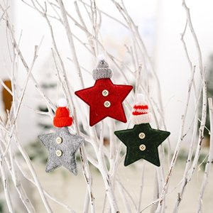 Christmas Tree Ornaments Knitted Hat Five-pointed Star Trees Pendant Xmas Decorations About 10*13cm 3 Color FWD11080