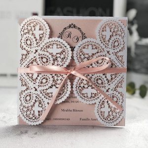 Square Laser Cut Wedding Invitations Cards With Ribbon Lace Sleeve For Quincenera Engagement Baby Shower Birthday Greeting ZHL1632