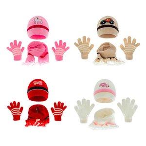Baby Hats Newborn Caps Toddler Hat Girls Boys Infant Cap Autumn Winter Warm Wool Knitted Beanie Cartoon Scarf Gloves 3Pcs Set 0-3T B8724