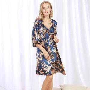 잠옷 Yaoting Ice New Silk Nightgown Women 's Summer Pajamas Cardigan Robe Suit