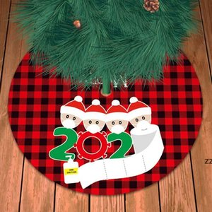 New Christmas Tree Skirt For Family Of 4 With Face Mask Burlap Christmas Tree Decoration Hand Sanitized Home Xmas Decor HWE9731