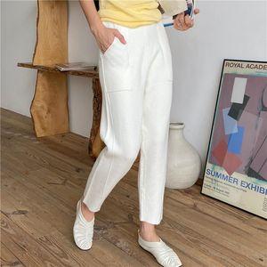 Pantalones de punto alta cintura para mujeres Pantalones de harén Pantalones sólidos Pantalones sólidos Casual Winter Warm Carrot Capris