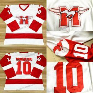 Корабль от нас Youngblood # 10 Mustangs Rob Lowe Hockey Jersey Movie Men's Shisted белые высококачественные майки