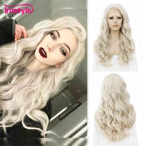 Imstyle Ash Blonde Synthetic Lace Front Wig Long Wavy Cosplay Heat Ristant Fiber Gluels Daily Wigs For Women 24 Inch