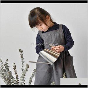 Aprons Textiles Home & Garden Children Washed Cotton Linen Apron Kid D Antifouling Sleeveless Bib Baby Kitchen Baking Cake Pinafore Smocks D