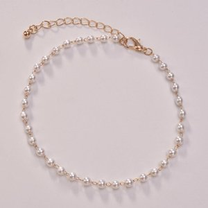 Anklets Retro Woman Elegant Anklet For Women Simple Artificial Pearl European Lady Party Jewelry Trendy Gold Color Metal Armband